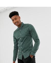 Dark Green Print Dress Shirt