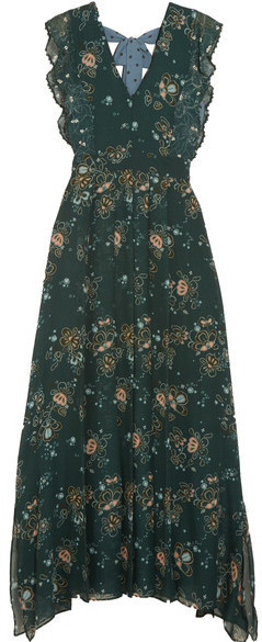 f87afd5c68 £504, See by Chloe See By Chlo Printed Georgette Maxi Dress Forest Green