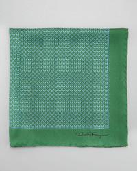 Salvatore Ferragamo Gancini Links Silk Pocket Square Green