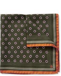 Dunhill Medallion Print Silk Twill Pocket Square
