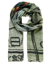 Four side with long fringes scarf japan bird medium 4138760