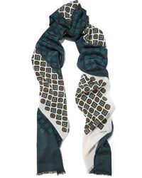 Lanvin Printed Silk Scarf Dark Green