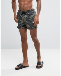 Asos Swim Shorts With Camo Print In Short Length