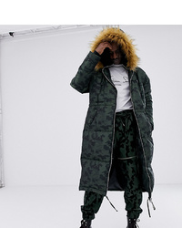ASOS DESIGN X Laquan Smith Camo Jacquard Oversized Parka With Detachable Hood