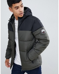 Threadbare Panelled Puffer Jacket With Hood