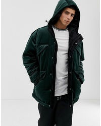 ASOS DESIGN Parka Jacket In Velour