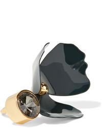 Marni Gold Tone Crystal Ring Green