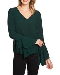 Dark Green Ruffle Long Sleeve Blouse