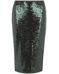 Dark Green Sequin Pencil Skirt