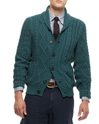 Brunello Cucinelli Buttoned Shawl Collar Cardigan Green