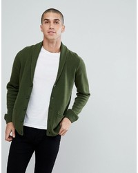 Asos Lambswool Shawl Cardigan In Lime Green