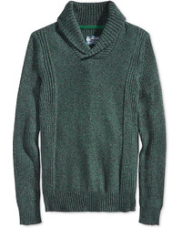 Dark Green Shawl-Neck Sweater