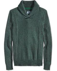 Dark Green Shawl-Neck Sweater