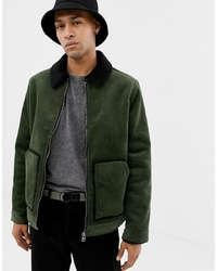 YOURTURN Cord Jacket In Green With Borg Collar And Lining