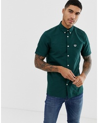 Fred Perry Short Sleeve Oxford Shirt In Green