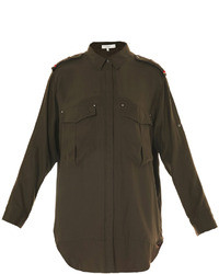 Nastia military silk blouse medium 28570