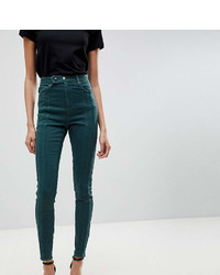 Asos Tall Asos Tall Ridley High Waist Skinny Jean With Front Seam Detail And Extended Button Tab In Dark Forest Green