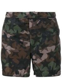 Valentino Camouflage And Star Print Swim Shorts