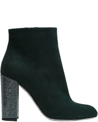Dark Green Suede Ankle Boots