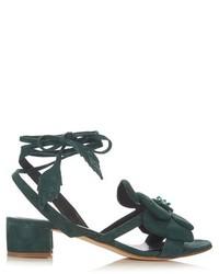 Dark Green Suede Heeled Sandals