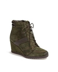 Dark Green Suede Lace-up Ankle Boots