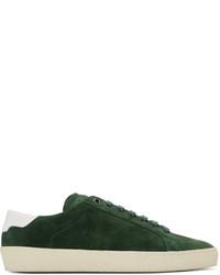 Dark Green Suede Low Top Sneakers