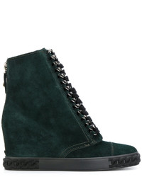 Casadei Concealed Wedge Lace Up Ankle Boots