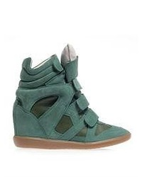 Burt suede and leather wedge trainers medium 52454