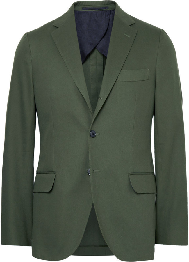 Mp Massimo Piombo Green Slim Fit Cotton Gabardine Suit Jacket ...