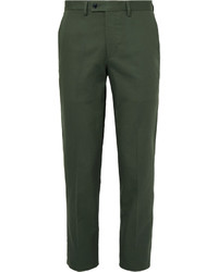 Mp Massimo Piombo Green Slim Fit Cotton Gabardine Suit Trousers