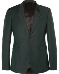 Burberry Prorsum Dark Green Slim Fit Mohair And Wool Blend Suit Jacket