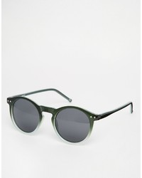 Asos Brand Round Sunglasses In Green Ombre