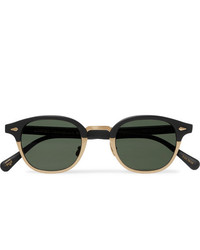 Moscot Lemtosh Mac Round Frame Matte Acetate And Gold Tone Sunglasses