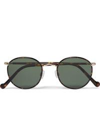 Moscot Zev Round Frame Tortoiseshell And Gold Tone Titanium Sunglasses