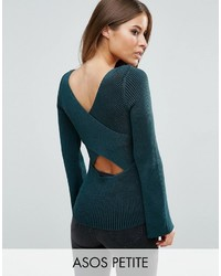 Asos Petite Petite Sweater With Extreme Cross Back In Rib