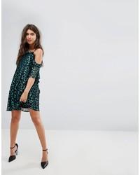 PrettyLittleThing Leopard Print Cold Shoulder Mini Dress