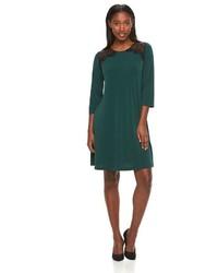 Nina Leonard Lace Yoke Crepe Swing Dress