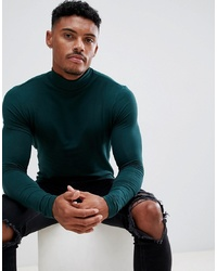 ASOS DESIGN Muscle Fit Long Sleeve T Shirt With Roll Neck In Green