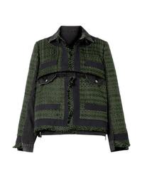 Sacai Paneled Canvas Trimmed Tweed And Denim Jacket