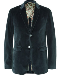 Gucci Blue Slim Fit Cotton Velvet Blazer