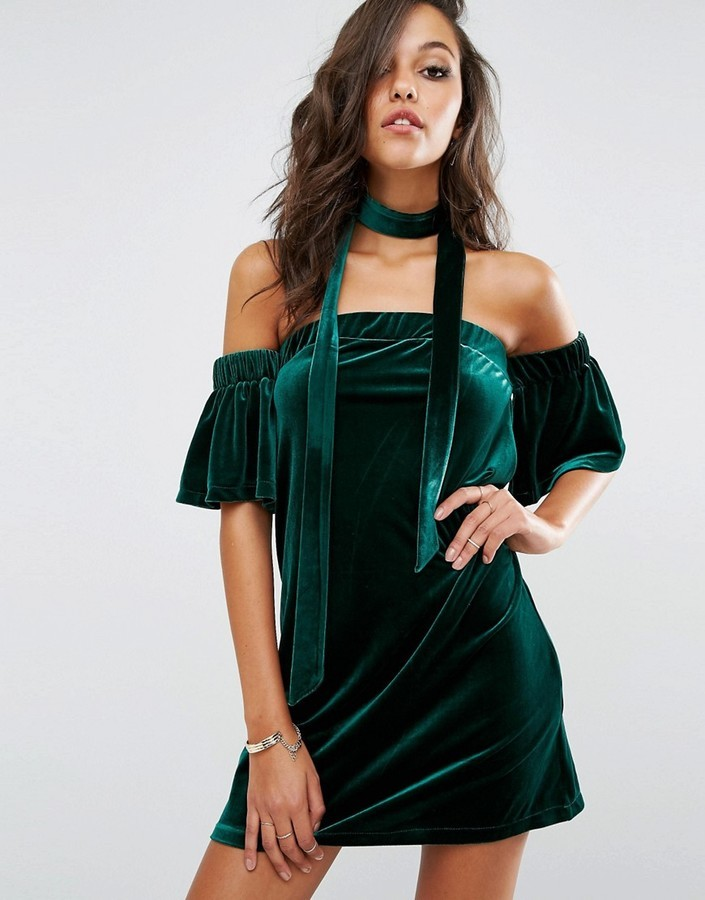fdd2ff6feafef Boohoo Off The Shoulder Velvet Dress, £25 | Asos | Lookastic UK