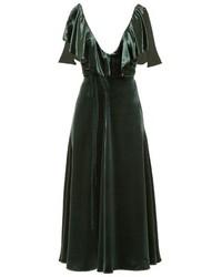 Valentino Deep V Neck Velvet Midi Dress