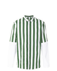 Dark Green Vertical Striped Long Sleeve Shirt