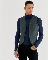 ASOS DESIGN Asos Skinny Suit Waistcoat In Teal Green Wool Blend