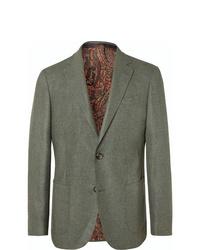 Etro Green Slim Fit Wool And Cashmere Blend Hopsack Blazer