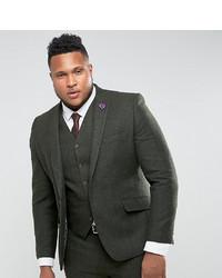 Gianni Feraud Plus Slim Fit Green Donnegal Wool Blend Suit Jacket