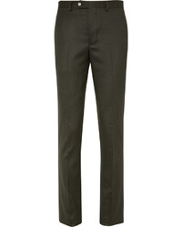 Officine Generale Green Paul Slim Fit Wool Flannel Suit Trousers