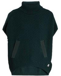 Moncler Roll Neck Logo Appliqu Wool Poncho