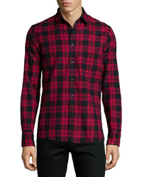 Dark Purple Check Long Sleeve Shirt