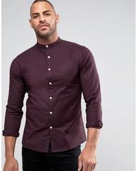 Asos Skinny Oxford Shirt With Grandad Collar Purple